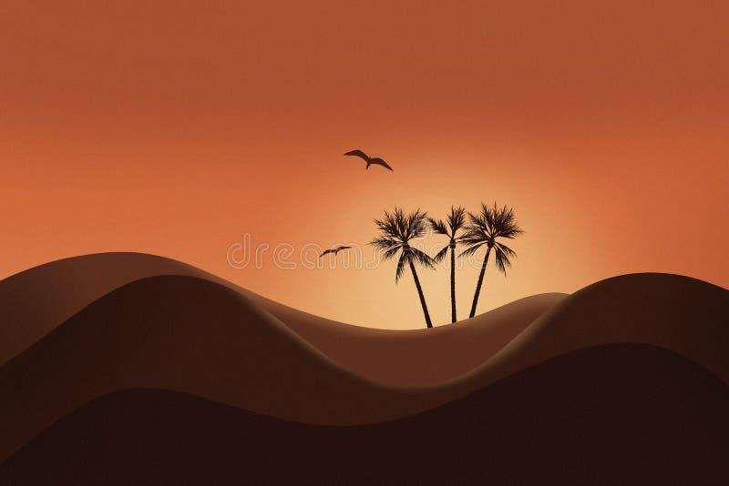 Härlig solnedgång och kontur av ökenlandskapet med den glödande himmel och palmträdet royaltyfria foton