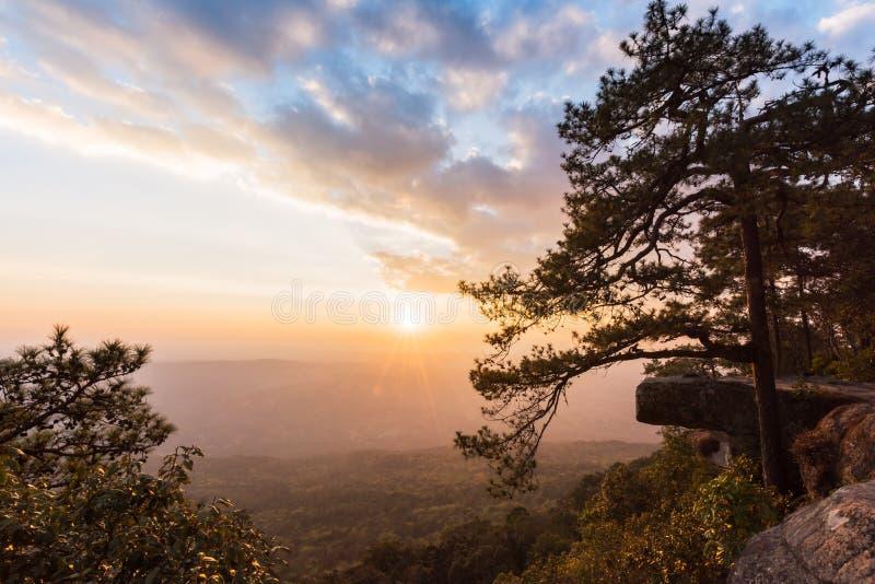 Härlig solnedgång på den Lom Sak klippan, Phu Kradung nationalpark arkivfoto