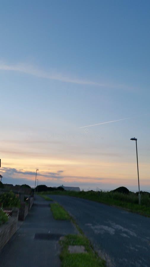 Härlig solnedgång Scarborough UK royaltyfri foto