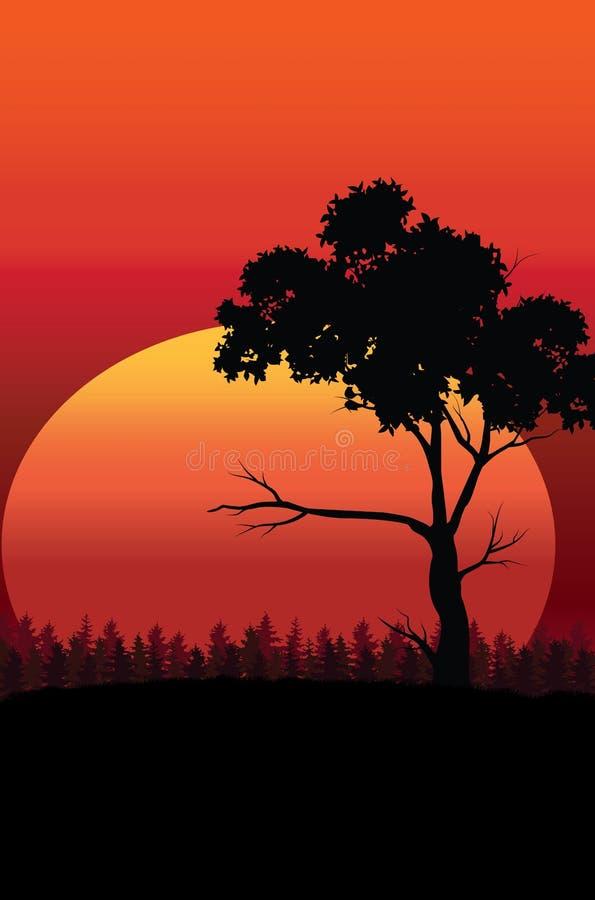 Härlig solnedgång, vektorillustrationlandskap stock illustrationer