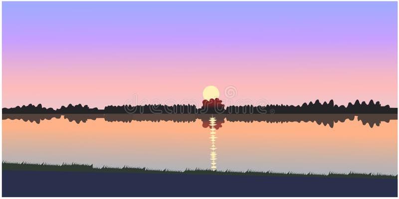 Härlig solnedgångvektor stock illustrationer