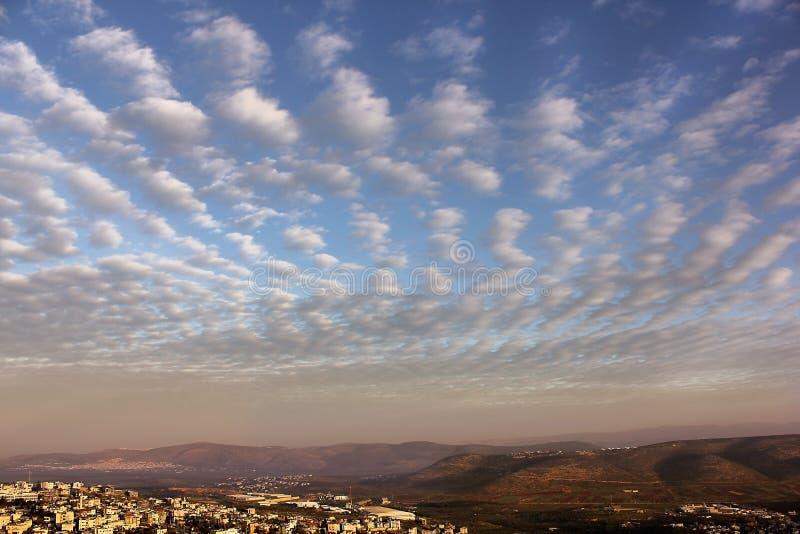 Härlig soluppgång över Cana av Galilee, Israel fotografering för bildbyråer