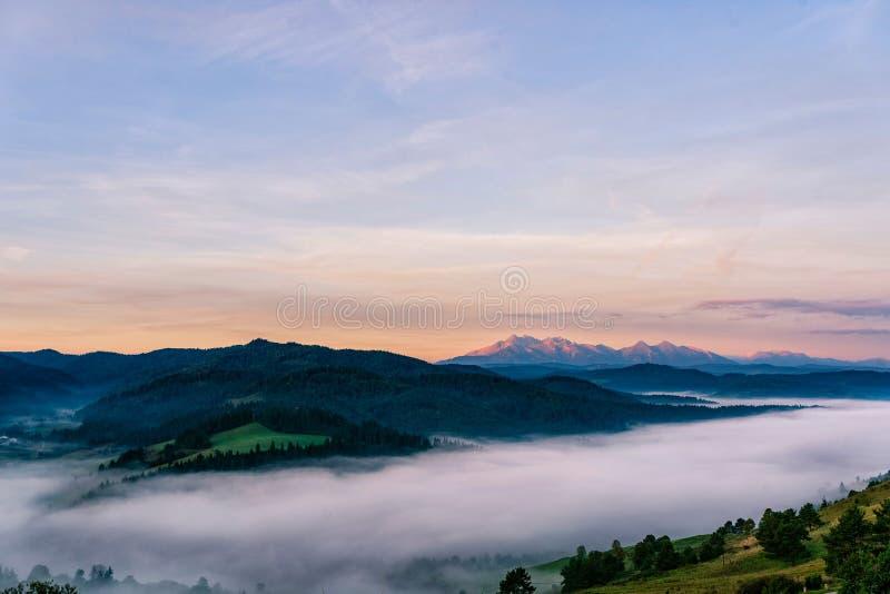 Härlig soluppgång över höga steniga maxima och den dimmiga och dimmiga dalen i höga Tatras arkivfoton