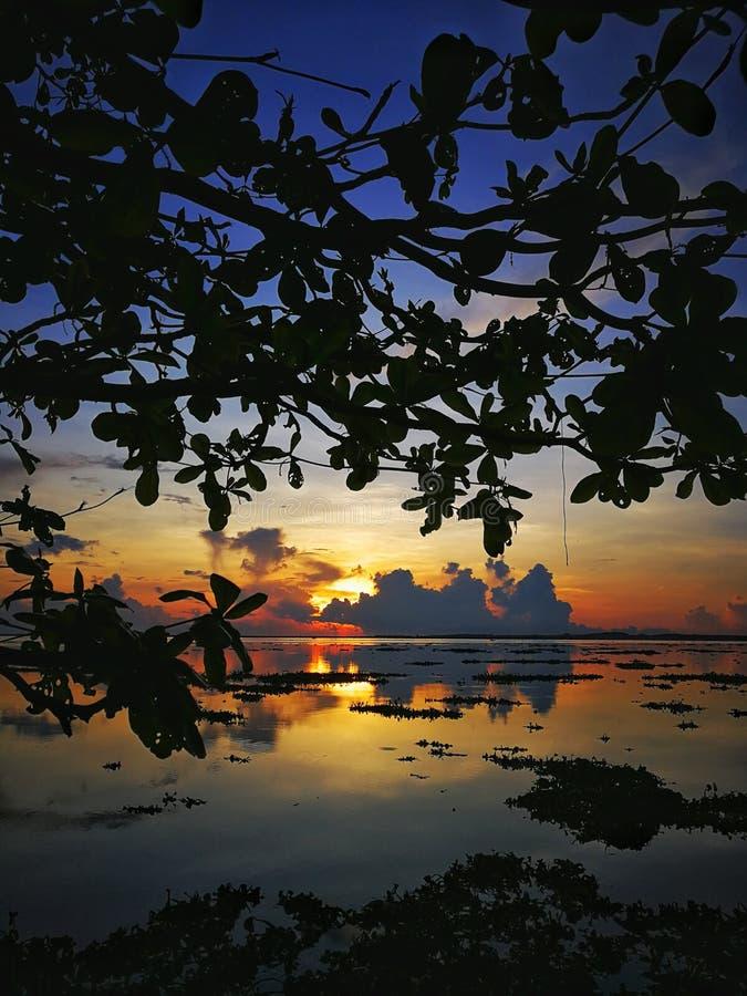 Härlig soluppgång eller solnedgång på den jubakar stranden, tumpat kelantan, Malaysia royaltyfri bild