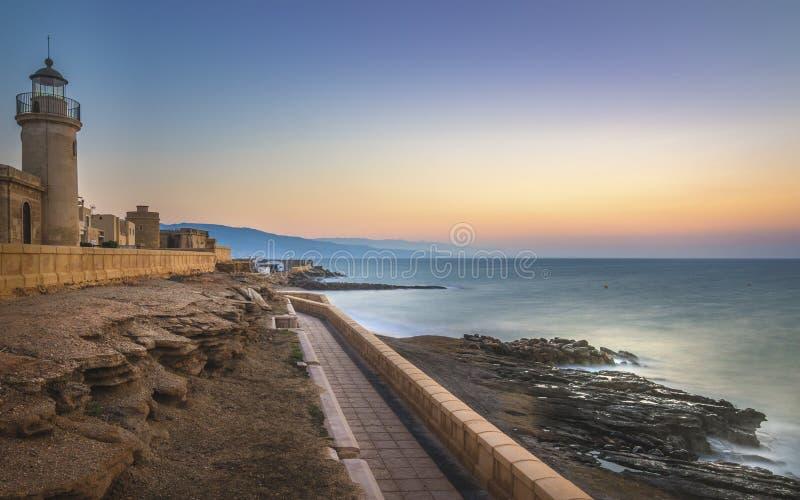 Härlig soluppgång i Roquetas de Fördärva royaltyfri fotografi