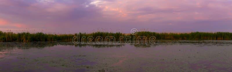 Härlig soluppgång reflekterade i vattnet av floden royaltyfri bild
