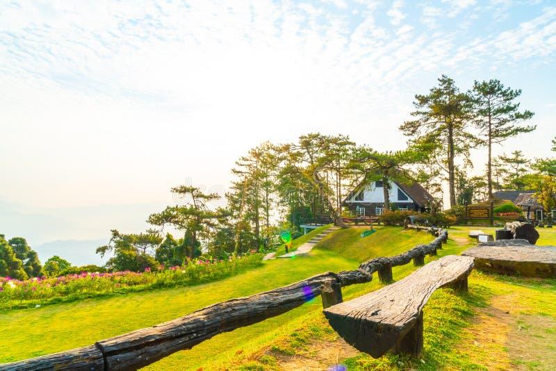 Härlig soluppgånghimmel med trädgården på berget på Huai Nam Dang National Park arkivfoto