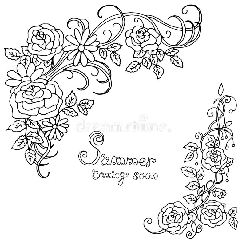 Härlig sommarmodell av blommor Garnering från rosor på en vit bakgrund Färgbok Mode i en vektorillustration vektor illustrationer