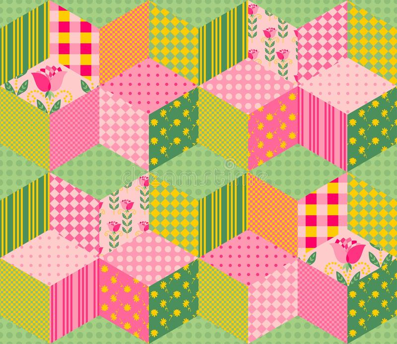 Härlig sommarpatchworkmodell Sömlös bakgrund i rosa färg- och gräsplansignaler royaltyfri illustrationer
