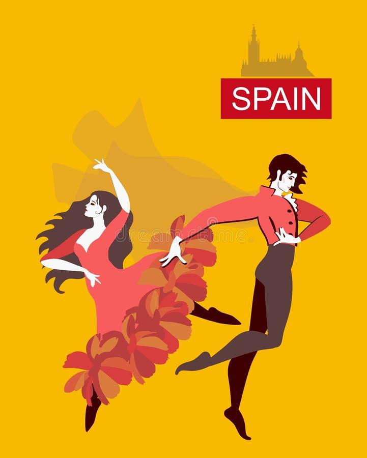 Härlig spansk dansareflamenco som isoleras på gul bakgrund i vektor vektor illustrationer