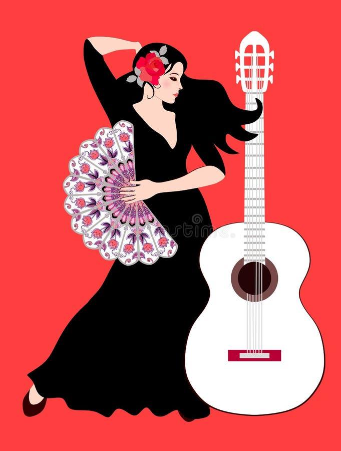 Härlig spansk flicka - flamencodansare med rosen på hennes hår och med fanen i hennes hand och vita gitarr på ljus röd bakgrund stock illustrationer