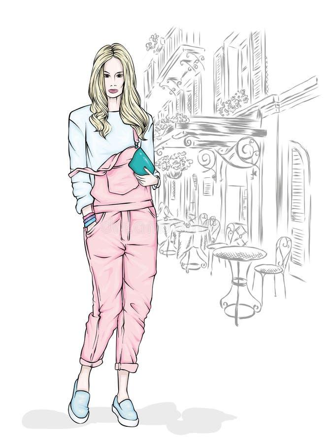 Härlig spenslig flicka i overaller och med en påse också vektor för coreldrawillustration hår long Mode och stil, stilfull blick royaltyfri illustrationer