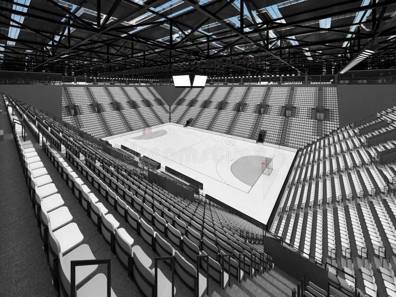 härlig sportarena för handboll med vitplatser och storgubbeaskar - 3D framför stock illustrationer
