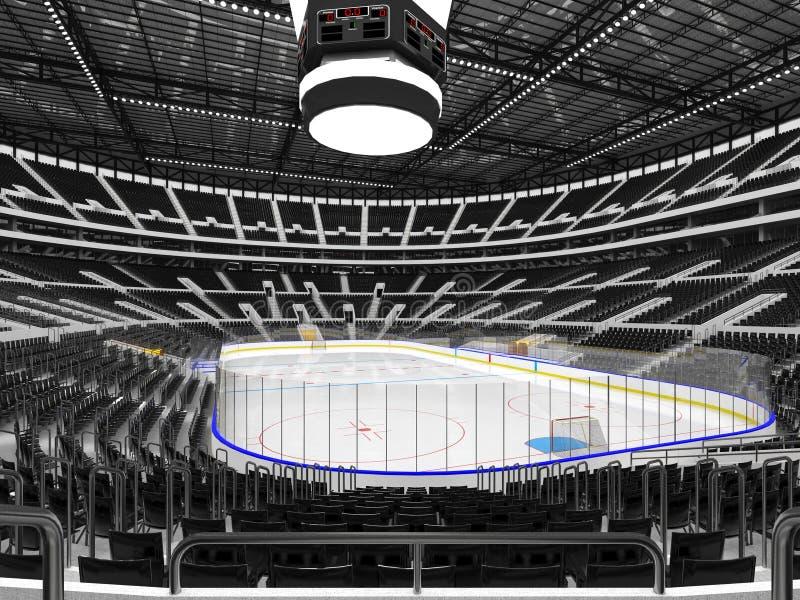 Härlig sportarena för ishockey med den svarta platsstorgubbeasken vektor illustrationer