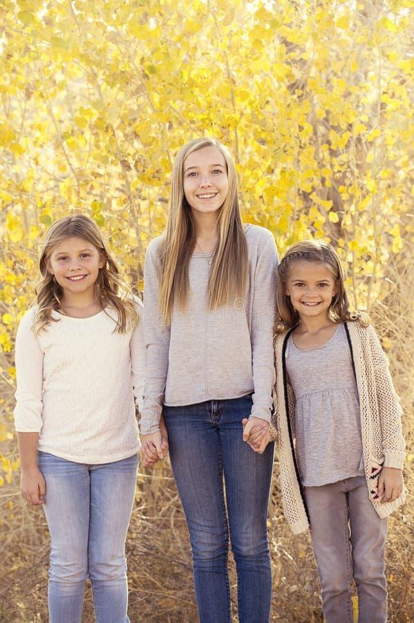 Härlig stående av tre små flickor utomhus arkivbilder