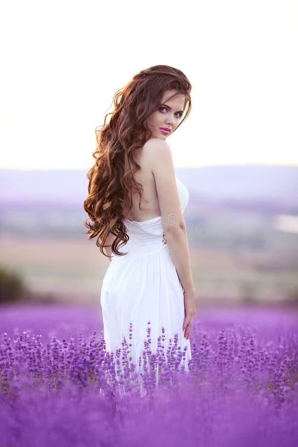Härlig stående för ung kvinna i lavendelfält Attraktiv bru royaltyfri bild