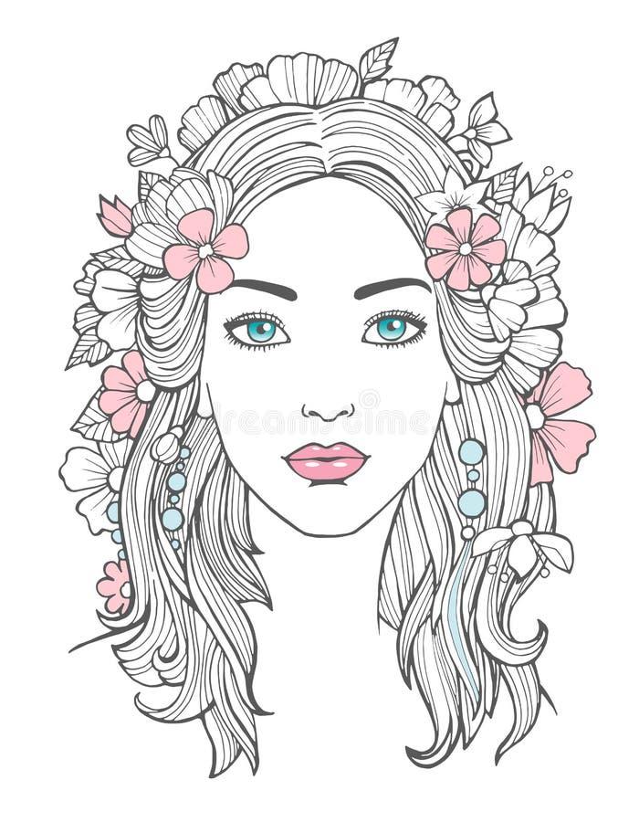 härlig ståendekvinna Ung kvinnlig för mystisk teckningsskönhet med blommor i hårvektorkonst vektor illustrationer