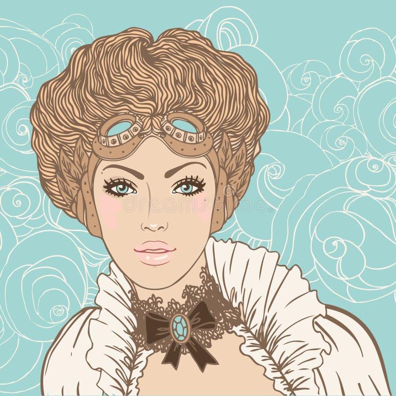 Härlig steampunkflicka royaltyfri illustrationer