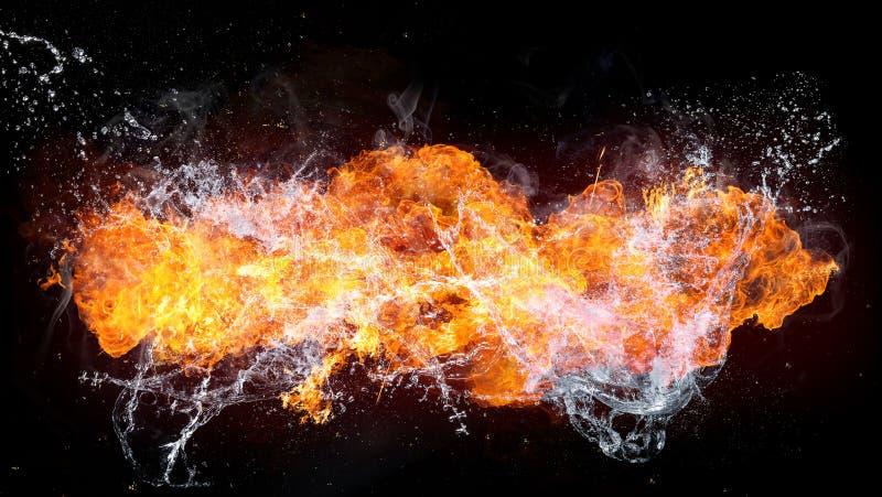 Härlig stilfull brand flammar med vatten arkivbild