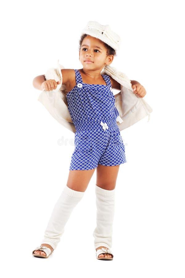 Härlig stilfull liten flicka arkivfoton