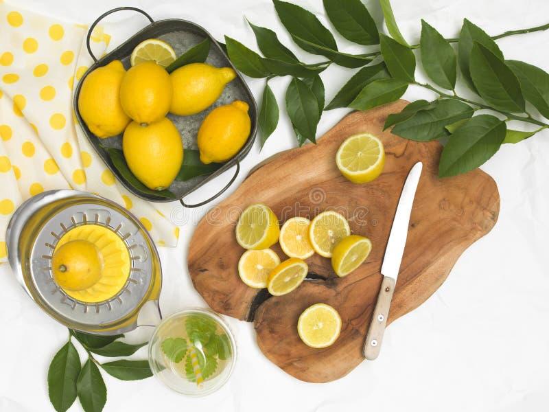 Härlig stilleben med citroner på vitbokbakgrund och träbräde och kniv royaltyfri foto