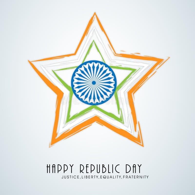 Härlig stjärna med det Ashoka hjulet för indisk republikdag royaltyfri illustrationer