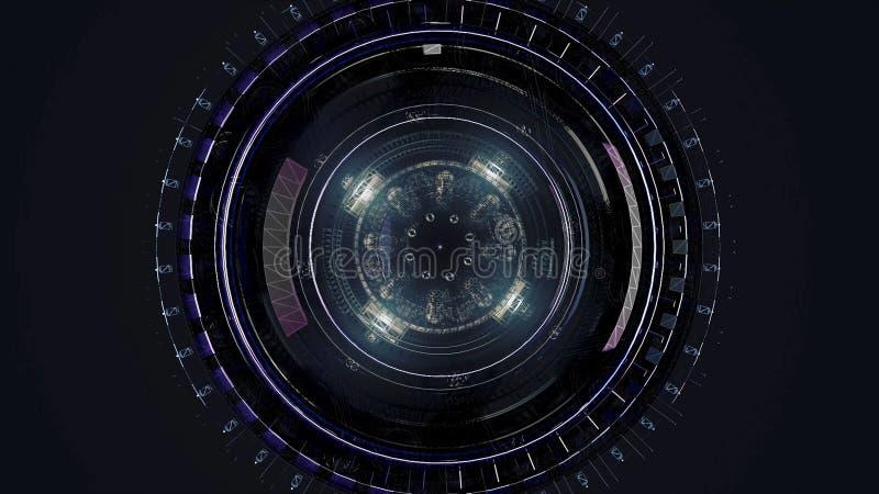 Härlig stor satellit i yttre rymd djur Roterande mekanism av ett abstrakt utrymmeskepp på svart bakgrund royaltyfri illustrationer
