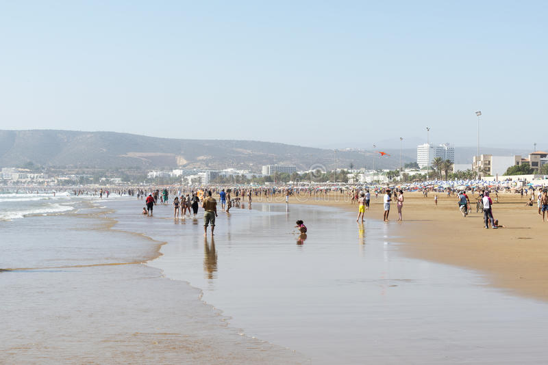 Härlig strand i Agadir arkivfoton
