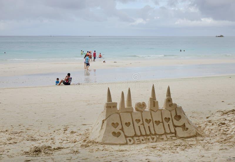 Härlig strand i den Boracay ön, Filippinerna arkivfoto