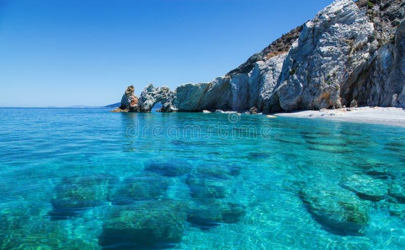 Härlig strand med mycket klart vatten royaltyfri foto