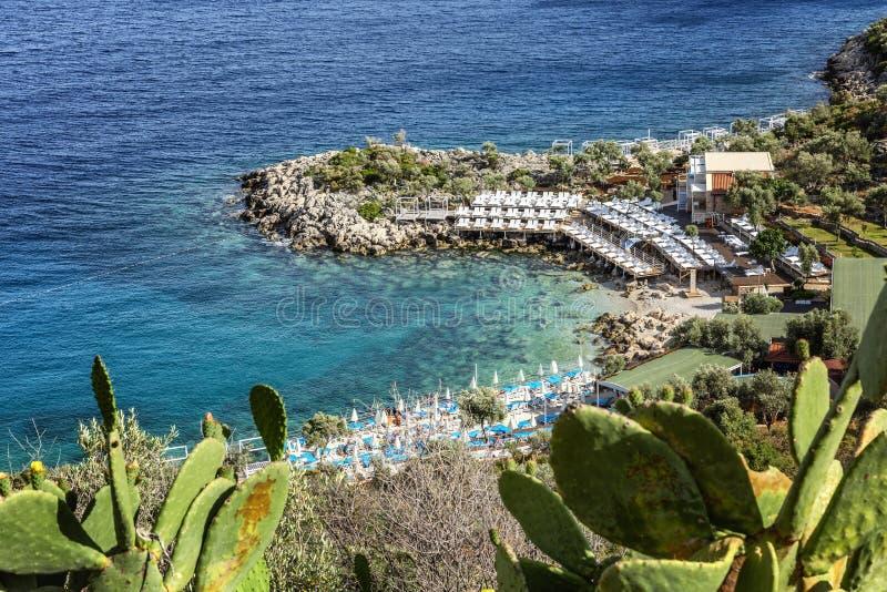 Härlig strand på en stenig strand med soldagdrivare och paraplyer ursnygg liggande royaltyfri fotografi