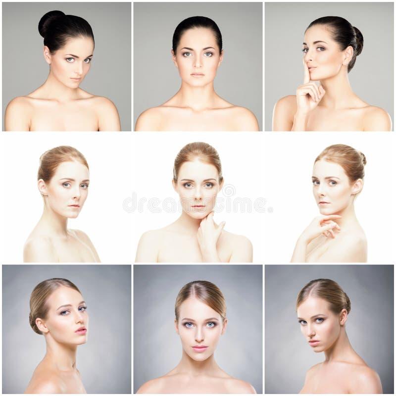 Härlig, sund och ung kvinnlig ståendesamling Collage av olika kvinnaframsidor Lyfta för framsida, skincare, plast- surger royaltyfri foto