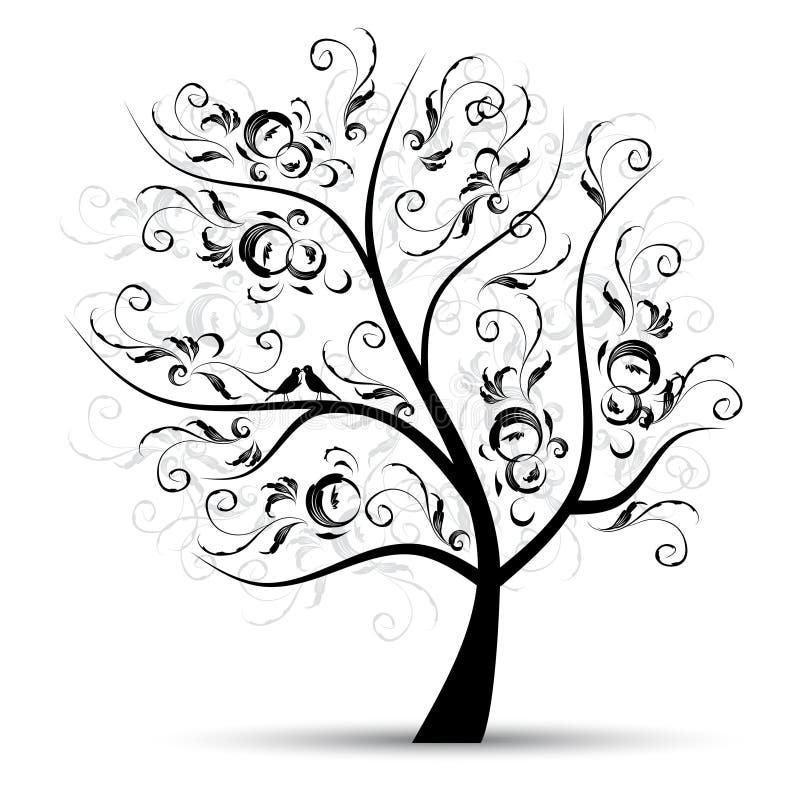 härlig svart silhouettetree för konst stock illustrationer