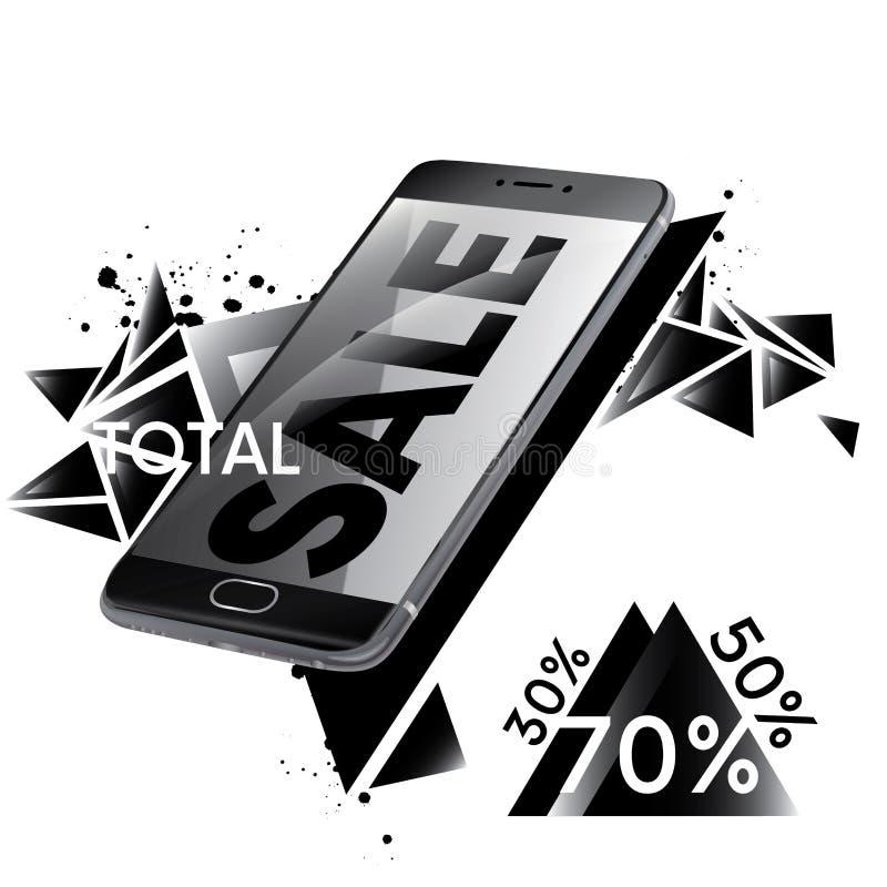 Härlig svart smartphone Konfektions- reklambladdesign- och försäljningsreklamblad Slutsummarabatter av 30%, 50%, 70% Vektorillust vektor illustrationer