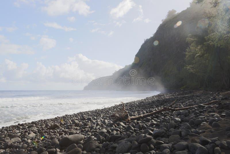 Härlig svart stenstrand - waipiodal, hawaii royaltyfri fotografi