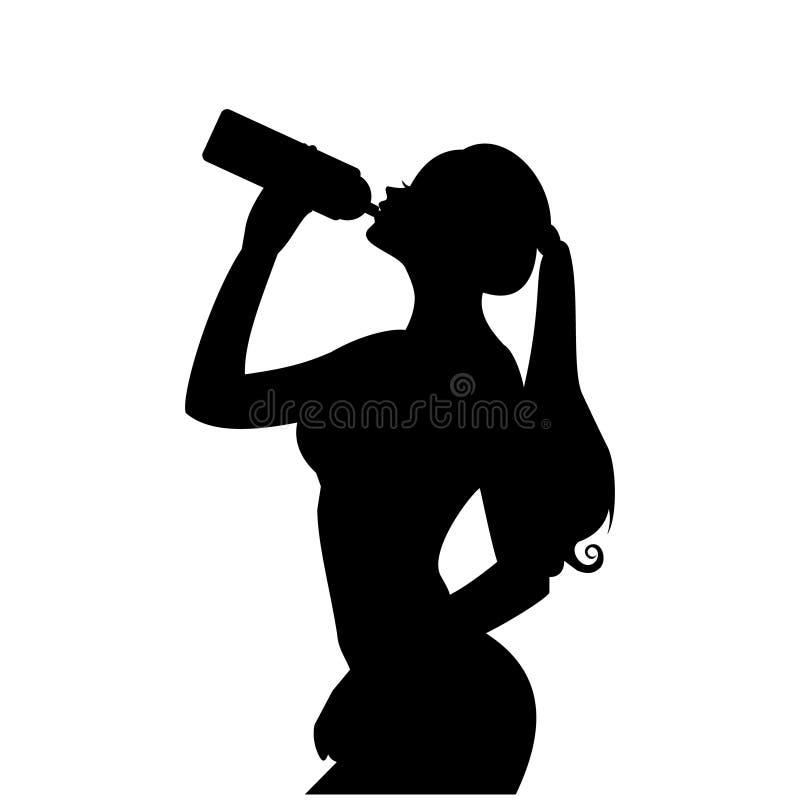 Härlig symbol för ung flickadrinkvatten, idrotts- flicka som rymmer en flaska, sunt livsstilsymbol stock illustrationer