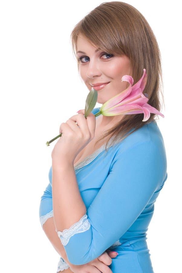 härlig tät blomma upp kvinnabarn arkivbilder