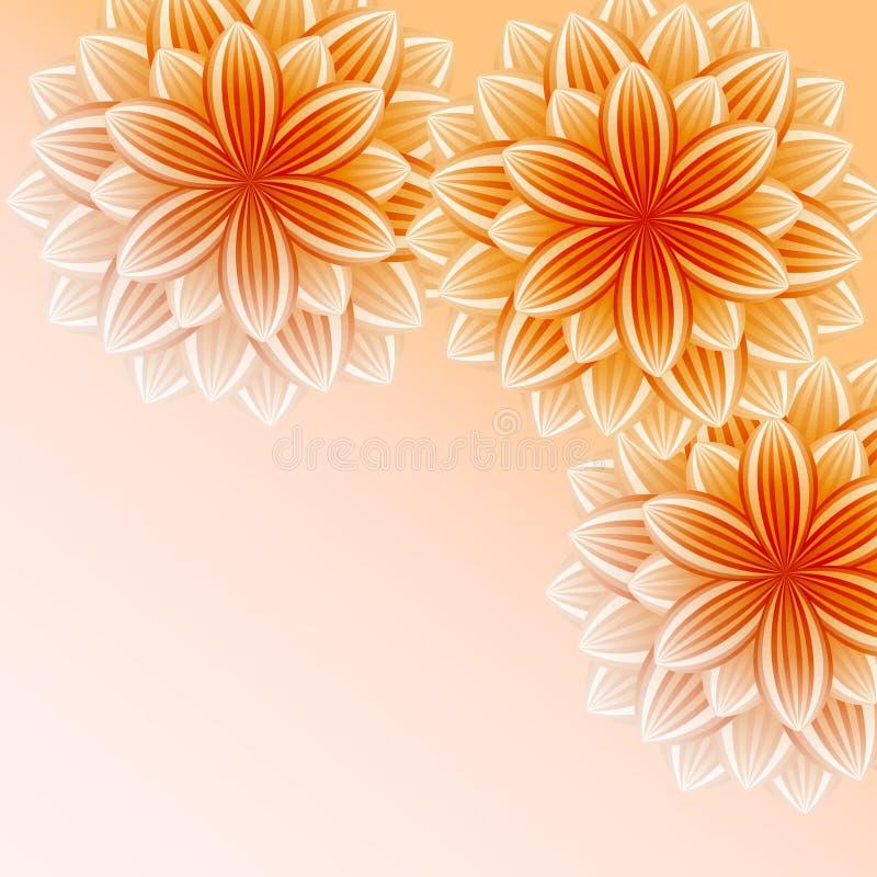 Härlig tapet med orange blommor royaltyfri illustrationer