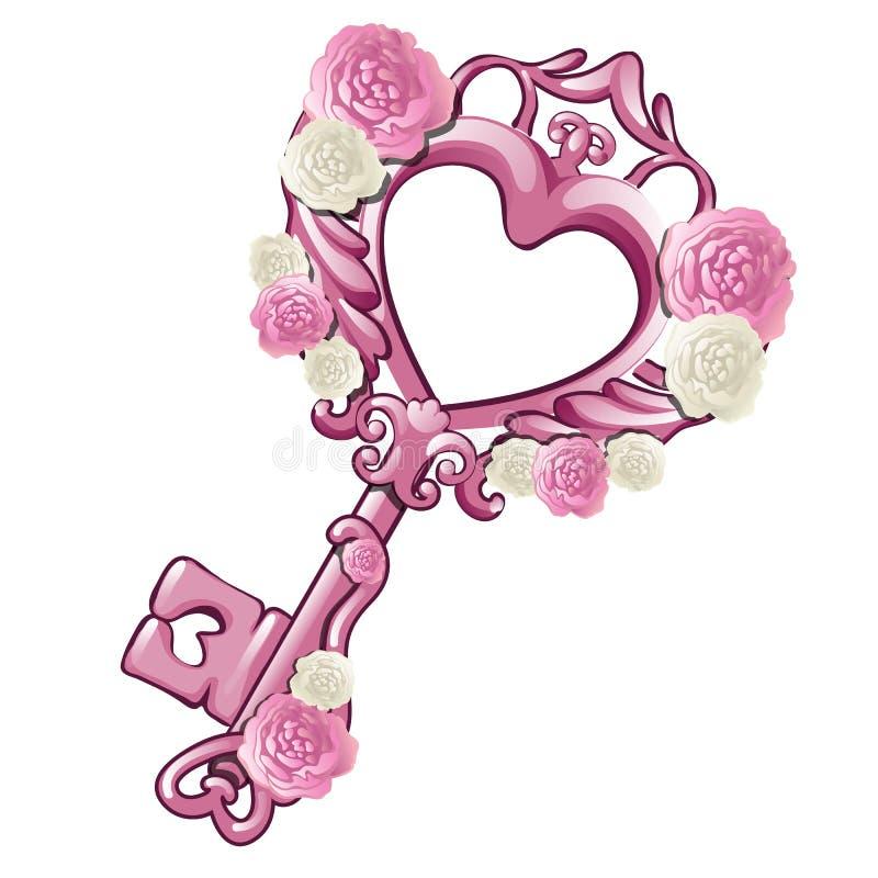 Härlig tappningtangent i formen av en rosa hjärta som dekoreras med modeller och blommor som isoleras på vit bakgrund royaltyfri illustrationer