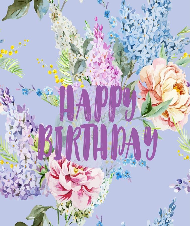 Härlig tappningvykort med en lycklig födelsedag - vattenfärgen blommar stock illustrationer