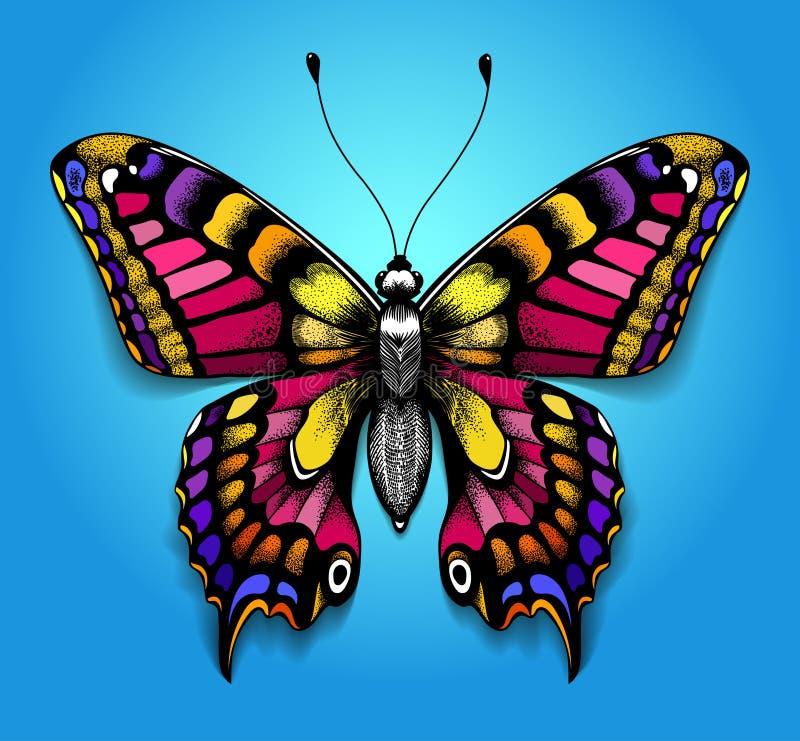 Härlig tatuering för din ljusa färgrika fjäril för bröstkorg på blå bakgrund Tropisk realistisk Machaon fjäril vektor illustrationer