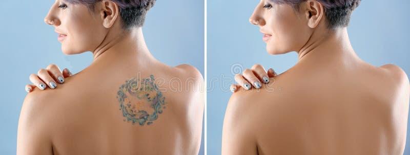 Härlig tatuering på kvinnligbaksida fotografering för bildbyråer