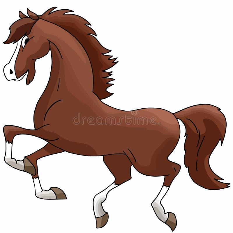Härlig tecknad filmbrunthäst som fritt galopperar vektorn stock illustrationer