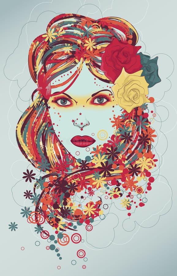 härlig tecknad kvinna för modehandillustration royaltyfri fotografi