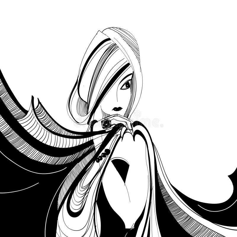 härlig teckningsflickascarf royaltyfri illustrationer