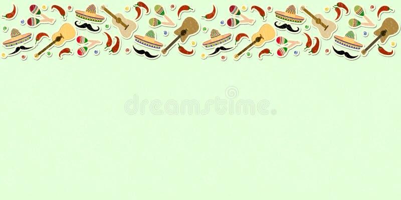 Härlig texturerad bakgrund för bannen för feriecincode mayo royaltyfri illustrationer