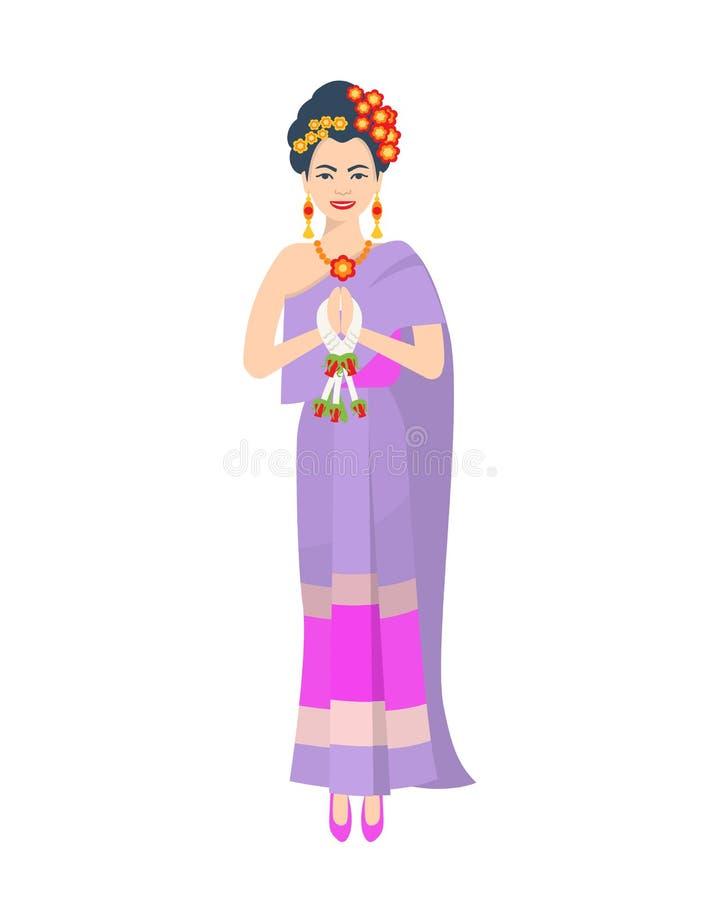 Härlig thailändsk flicka i traditionell ljus kläder, klänning, tillbehör, smycken stock illustrationer