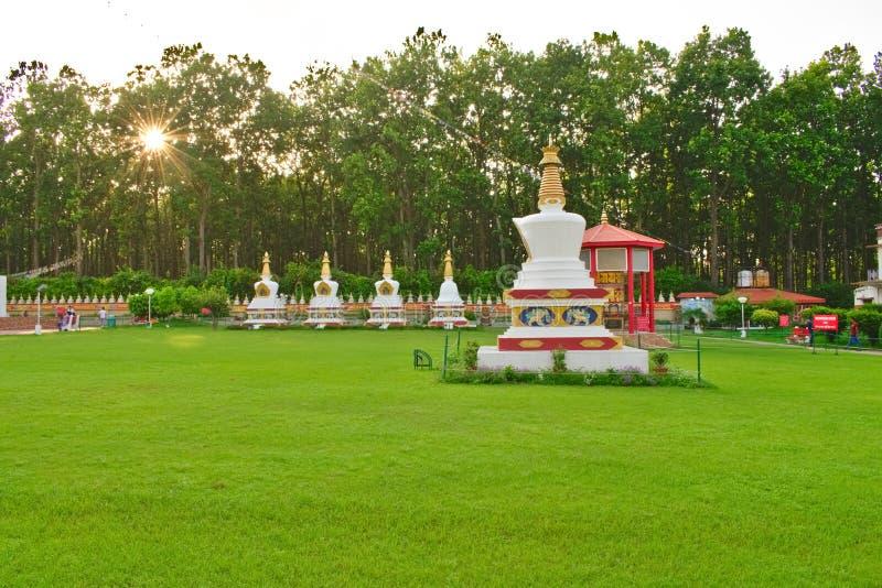Härlig trädgård i morgonen med den tibetana trädgården för buddha stupa arkivbilder