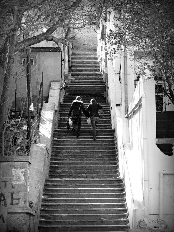 Härlig trappuppgång i Baku, Azerbajdzjan royaltyfri foto