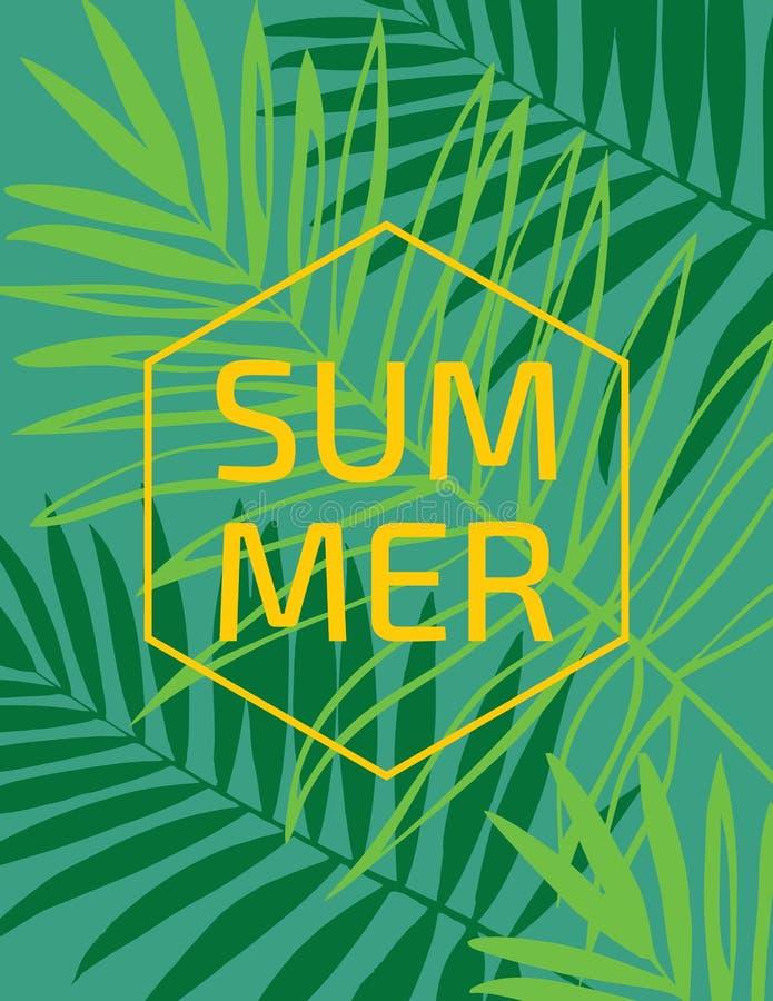 Härlig tropisk bakgrund för palmträdbladkontur också vektor för coreldrawillustration vektor illustrationer